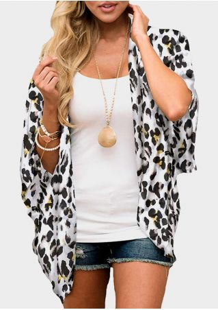 Leopard Printed Batwing Sleeve Cardigan without Necklace