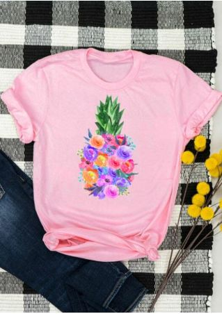 Floral Printed Pineapple T-Shirt Tee