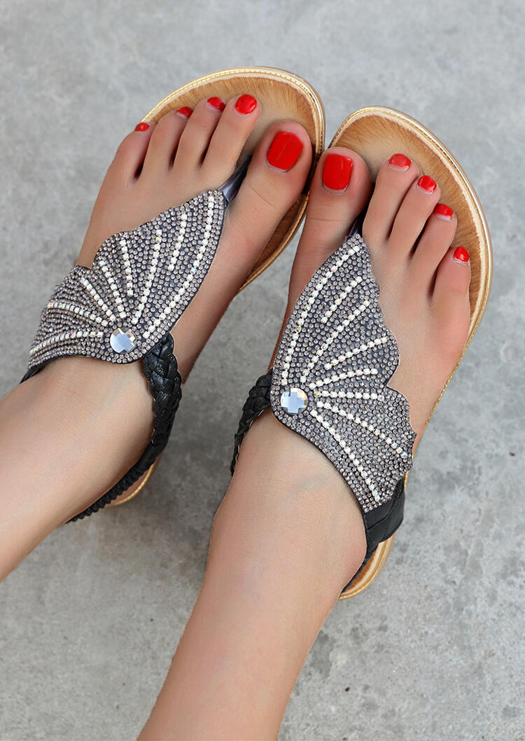 Beading Elastic Band Round Toe Sandals