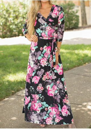 Floral Wrap V-Neck Maxi Dress