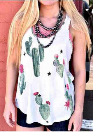 Cactus O-Neck Casual Tank without Necklace