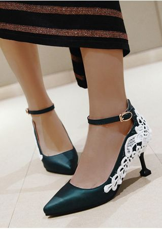 Lace Splicing Ankle Strap Heels