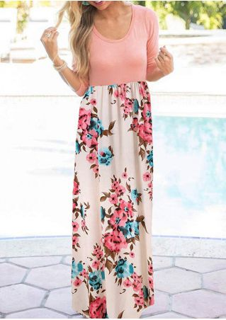 Floral Splicing O-Neck Maxi Dress