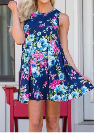 Floral O-Neck Sleeveless Mini Dress