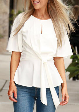 Solid Tie Hollow Out Blouse
