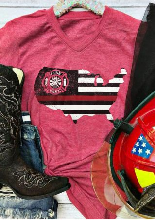 American Fire Dept V-Neck T-Shirt Tee