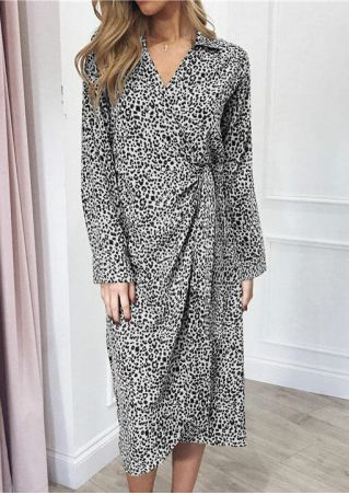 Leopard Printed Wrap Casual Dress