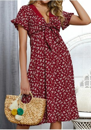 Floral Tie Lace Splicing Casual Dress