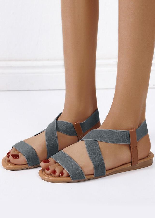 Cross Elastic Waist Flat Sandals