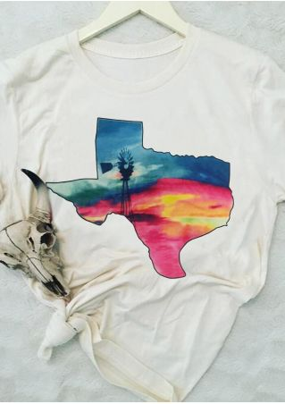 Texas O-Neck Short Sleeve T-Shirt Tee