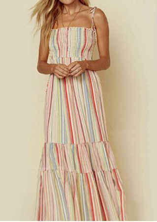 Striped Spaghetti Strap Layered Maxi Dress