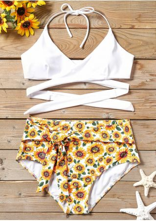 Sunflower Wrap Sexy Bikini Set