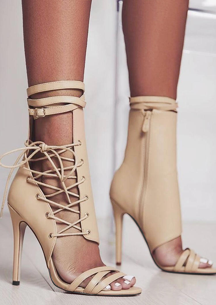 Solid Lace-Up Zipper Heeled Sandals