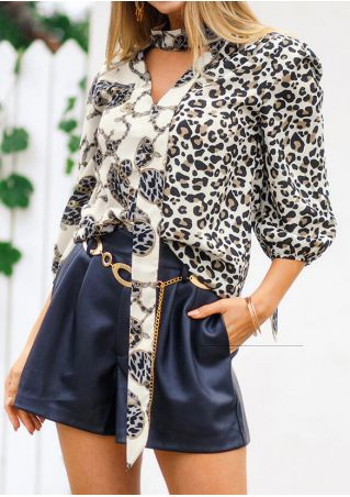 Leopard Printed Deep V-Neck Blouse