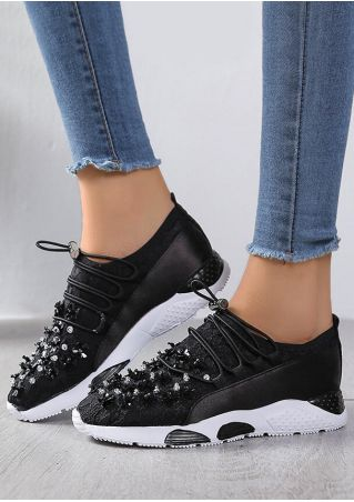 Sequined Round Toe Casual Sneakers