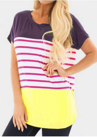 Striped O-Neck Short Sleeve T-Shirt Tee