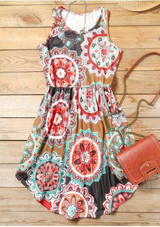 O-Neck Mandala  Sleeveless Mini Dress