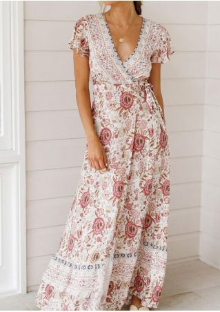 Floral Deep V-Neck Tie Maxi Dress without Necklace