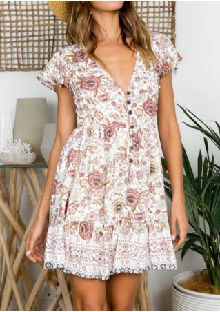 Floral Deep V-Neck Mini Dress