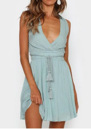 Solid Deep V-Neck Mini Dress