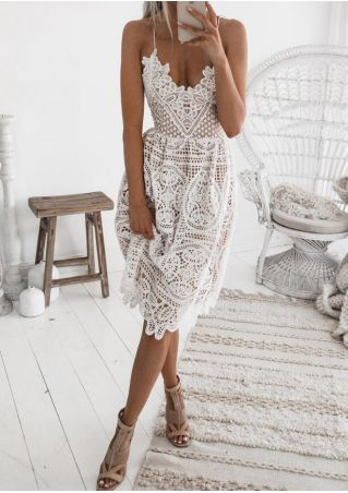 V Neck Floral Lace  Backless  Dress