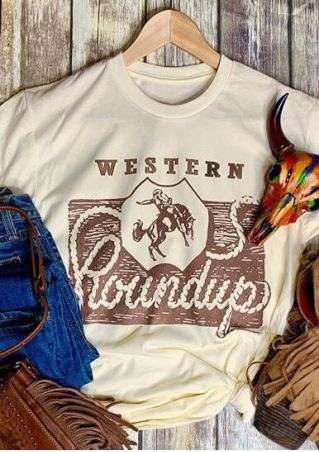 Western Roundup O-Neck T-Shirt Tee