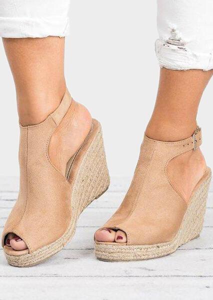 Solid Peep Toe Wedge Sandals