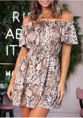 Snake Skin Printed Off Shoulder Mini Dress without Necklace