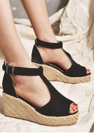 Solid Buckle Strap Peep Toe Sandals