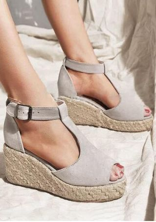Solid Buckle Strap Peep Toe Wedge Sandals