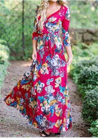 Floral Wrap Tie Deep V-Neck Maxi Dress