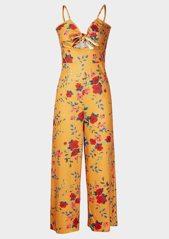 517640bbb132 Floral Tie Spaghetti Strap Jumpsuit - Bellelily