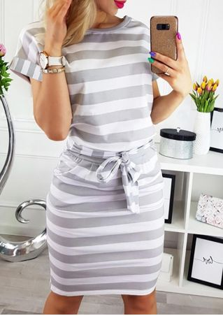 Striped Tie O-Neck Pocket Mini Dress