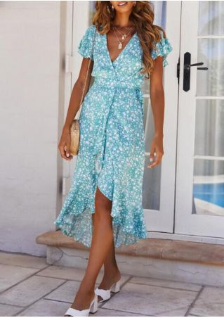 Floral Deep V-Neck Ruffled Casual Dress without Necklace