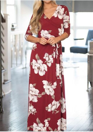 Floral Wrap Tie Maxi Dress