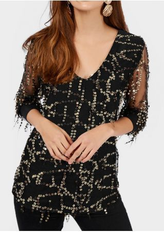 Sequined Mesh Splicing Blouse