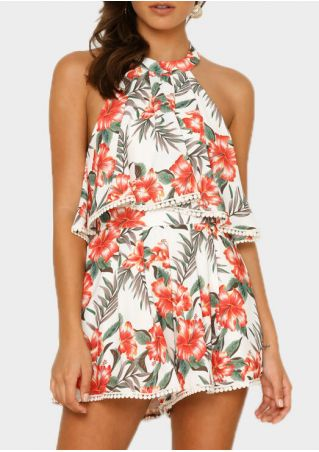 Floral Layered Backless Romper