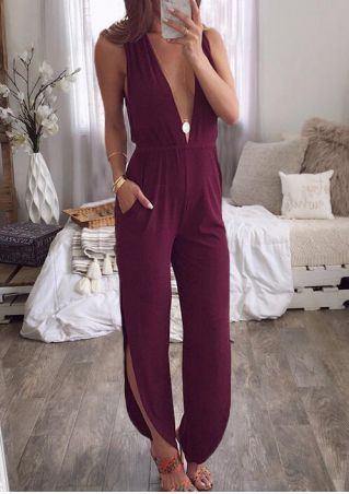Solid Deep V-Neck Jumpsuit without Necklace