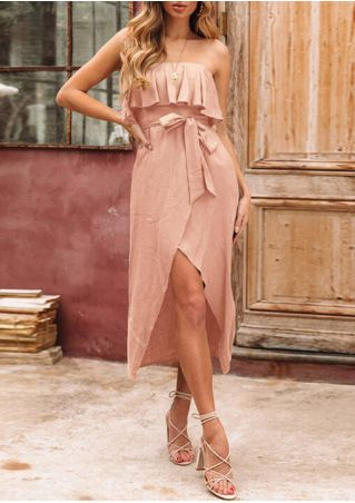 Solid Layered Strapless Casual Dress