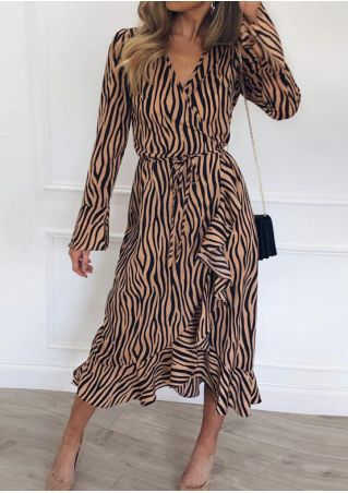 Zebra Striped Print Ruffled Casual Dress
