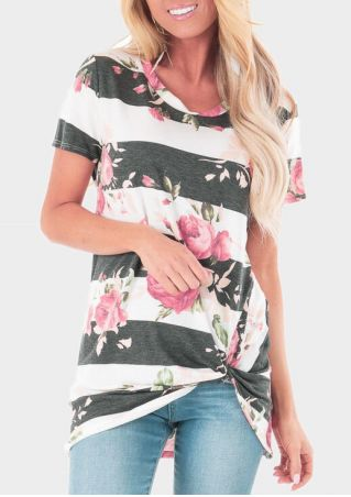 Floral Striped Twist Blouse