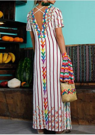 Striped Criss-Cross Backless Maxi Dress