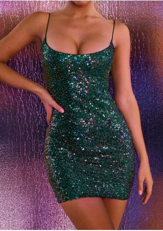 Sequined Spaghetti Strap Bodycon Dress