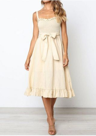 Solid Ruffled Spaghetti Strap Casual Dress