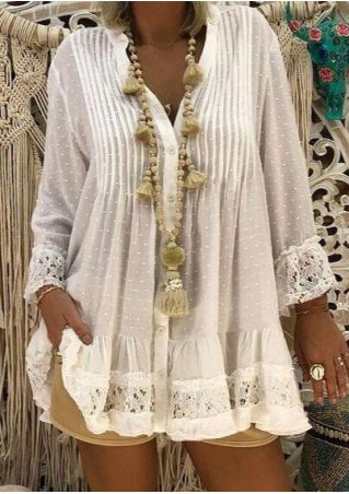 Solid Lace Splicing Button Blouse without Necklace