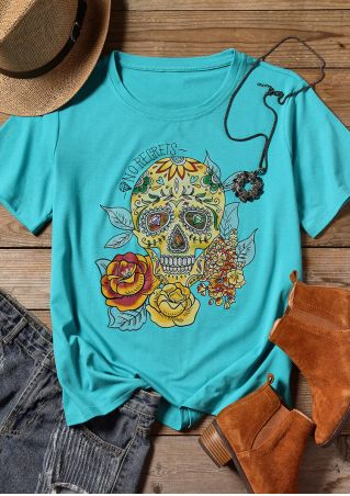 Skull Floral No Regrets T-Shirt Tee