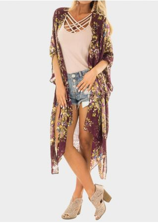 Printed Batwing Sleeve Cardigan without Necklace