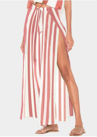 Striped Slit Wide Leg Pants