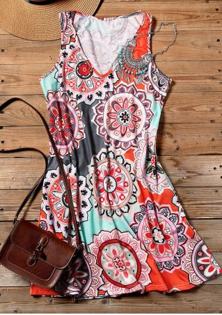 V-Neck Mandala Printed Pocket Mini Dress
