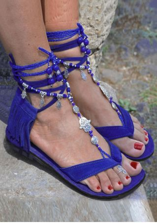 Fringe Beading Ankle Wrap Heeled Sandals